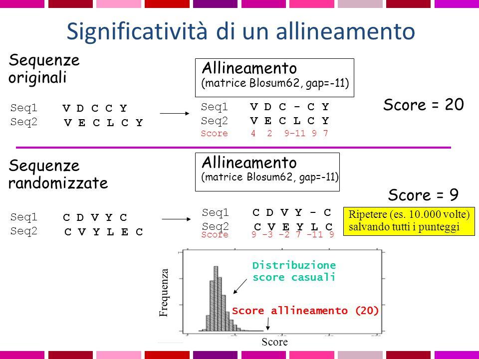 Significatività di un allineamento Allineamento (matrice Blosum62, gap=-11) Seq1 V D C - C Y Seq2 V E C L C Y Score 4 2 9-11 9 7 Score = 20 Sequenze r