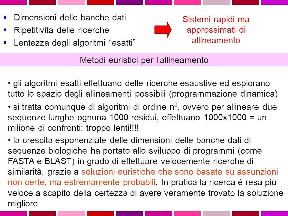  Dimensioni delle banche dati  Ripetitività delle ricerche  Lentezza degli algoritmi esatti Sistemi rapidi ma approssimati di allineamento Metodi euristici per l'allineamento gli algoritmi esatti effettuano delle ricerche esaustive ed esplorano tutto lo spazio degli allineamenti possibili (programmazione dinamica) si tratta comunque di algoritmi di ordine n 2, ovvero per allineare due sequenze lunghe ognuna 1000 residui, effettuano 1000x1000 = un milione di confronti: troppo lenti!!!.