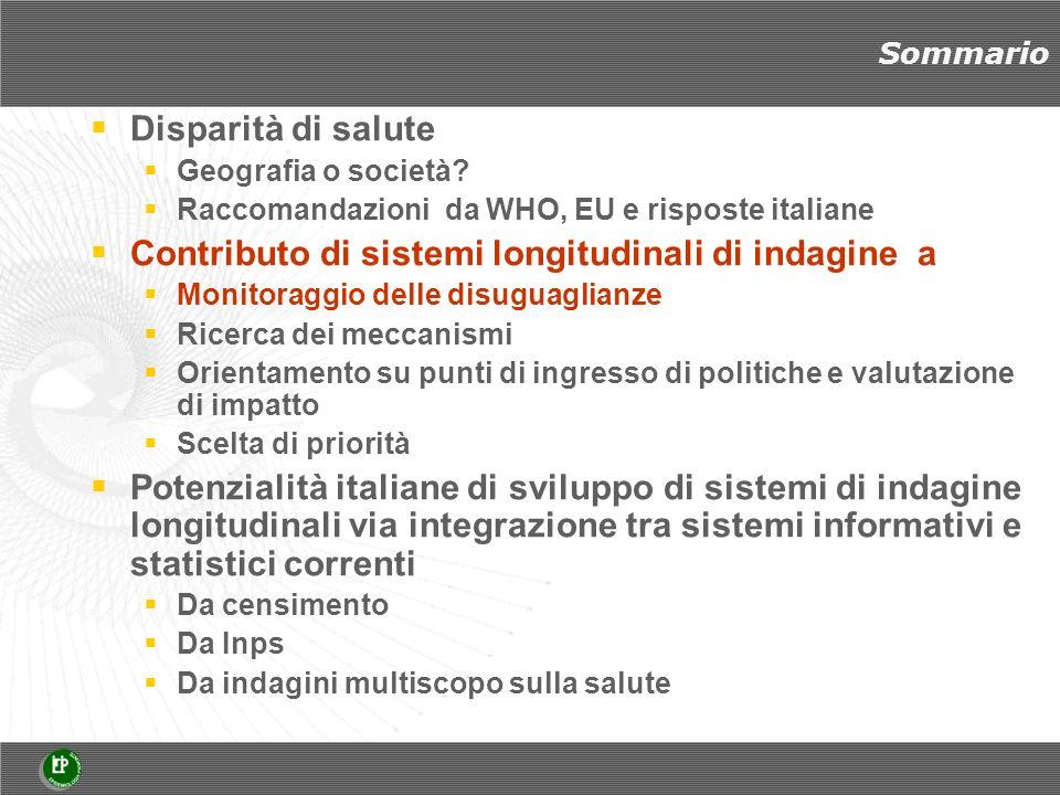 Sommario  Disparità di salute  Geografia o società?  Raccomandazioni da WHO, EU e risposte italiane  Contributo di sistemi longitudinali di indagi