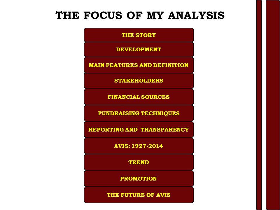 FINANCIAL SOURCES FUNDRAISING TECHNIQUES STAKEHOLDERS THE STORY PROMOTION FEATURES AND DEFINITION DEVELOPMENT REPORTING AND TRANSPARENCY THE FUTURE OF AVIS AVIS:1927-2014 TREND Ricavi 2010Ricavi 2011 Voci di ricavoDonazioni totali% entrateDonazioni totali% entrateVariazione anni Trafusioni€ 4.9448%€ 4.7444%-4% Proventi Avis€ 1.4514%€ 1.0810%-35% Partite di giro€ 1.4714%€ 2.2321%52% Fonti pubbliche€ 0.475%€ 0.707%49% Fonti private€ 1.5515%€ 1.3513%-13% Rimborso spese€ 0.030%€ 0.040%33% ENTRATE VARIE€ 0.444%€ 0.535%20% Costi 2010Costi 2011 Voci di costoDonazioni totali% costiDonazioni totali% costiVariazione anni Quote associat.€ 0.395%€ 0.263%-25% Partite di giro€ 1.4514%€ 1.0810%-35% Partite di giro€ 1.4014%€ 2.2321%52% Spese personali€ 1.6617%€ 1.4014%-20% Spese donazione€ 0.071%€ 0.061%-17% Spese sanitarie€ 0.586%€ 0.646%5% Spese fidelizzazioni € 0.444%€ 0.535%20% Spese generali€ 2.0221%€ 2.02 19% -5%