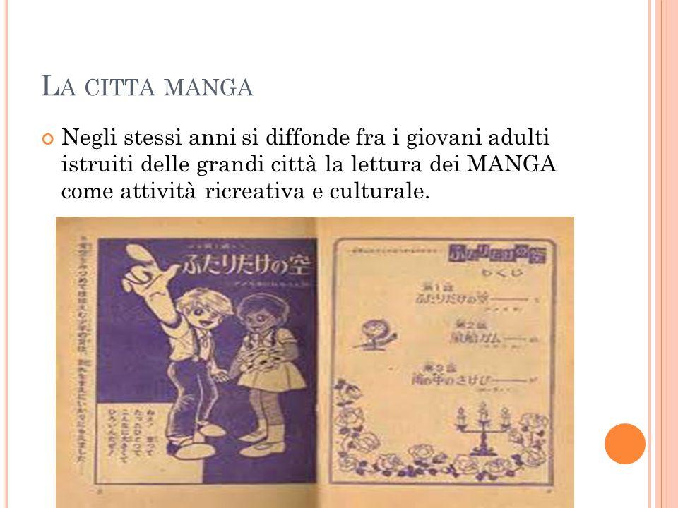 L A CITTA MANGA Negli stessi anni si diffonde fra i giovani adulti istruiti delle grandi città la lettura dei MANGA come attività ricreativa e culturale.