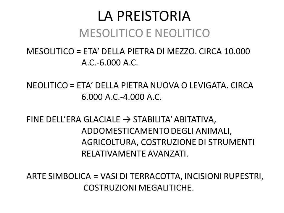 LA PREISTORIA MESOLITICO E NEOLITICO MESOLITICO = ETA' DELLA PIETRA DI MEZZO. CIRCA 10.000 A.C.-6.000 A.C. NEOLITICO = ETA' DELLA PIETRA NUOVA O LEVIG