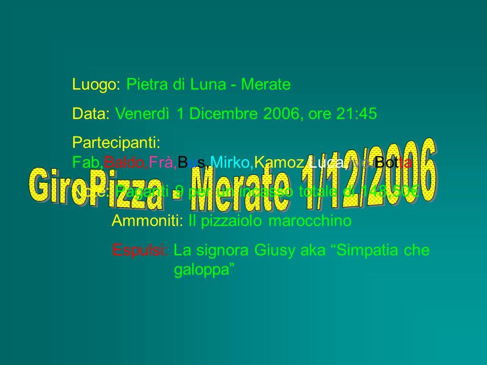 Luogo: Pietra di Luna - Merate Data: Venerdì 1 Dicembre 2006, ore 21:45 Partecipanti: Fab,Baldo,Frà,Bus,Mirko,Kamoz,Luca,Ivo,Botta Note: Paganti 9 per