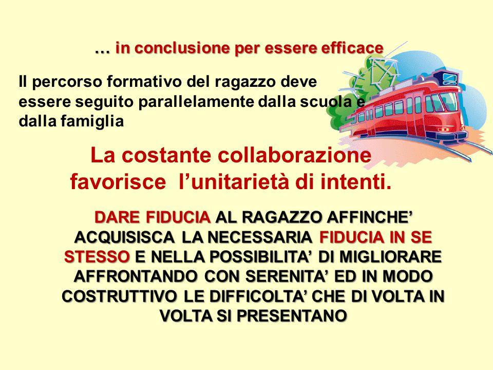 … in conclusione per essere efficace DARE FIDUCIA AL RAGAZZO AFFINCHE' ACQUISISCA LA NECESSARIA FIDUCIA IN SE STESSO E NELLA POSSIBILITA' DI MIGLIORAR
