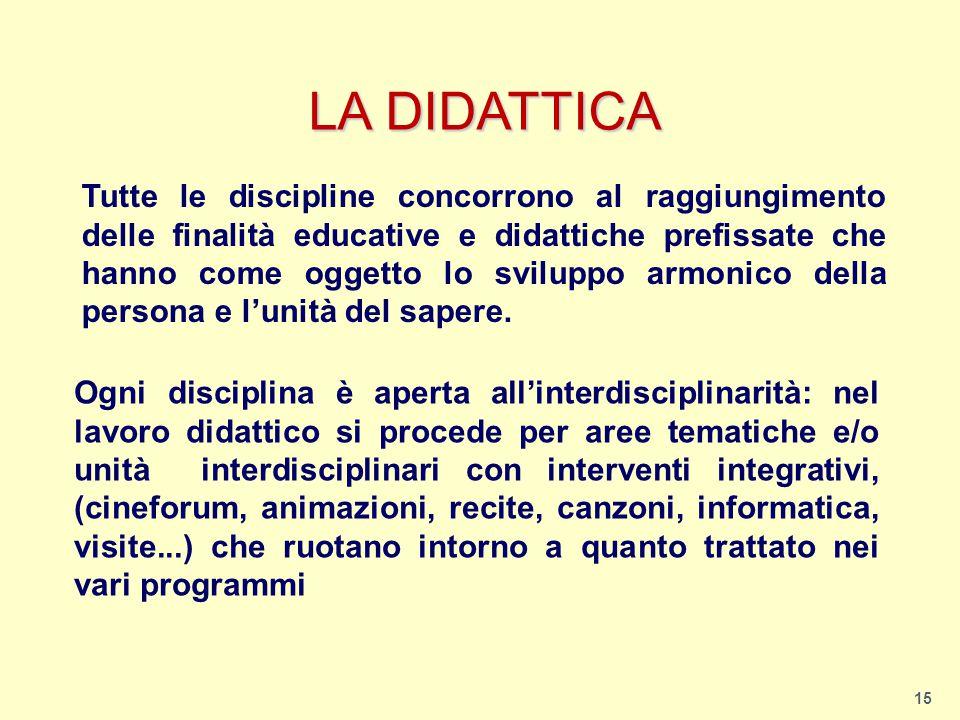 LA DIDATTICA Tutte le discipline concorrono al raggiungimento delle finalità educative e didattiche prefissate che hanno come oggetto lo sviluppo armo