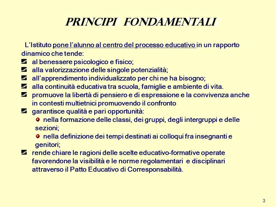 3 L'Istituto pone l'alunno al centro del processo educativo in un rapporto dinamico che tende: al benessere psicologico e fisico; alla valorizzazione