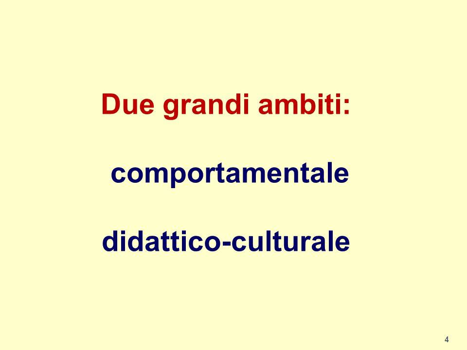 4 Due grandi ambiti: comportamentale didattico-culturale