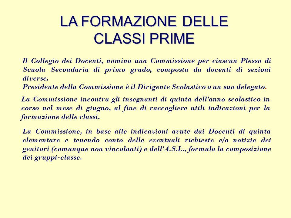 LA FORMAZIONE DELLE CLASSI PRIME Il Collegio dei Docenti, nomina una Commissione per ciascun Plesso di Scuola Secondaria di primo grado, composta da d