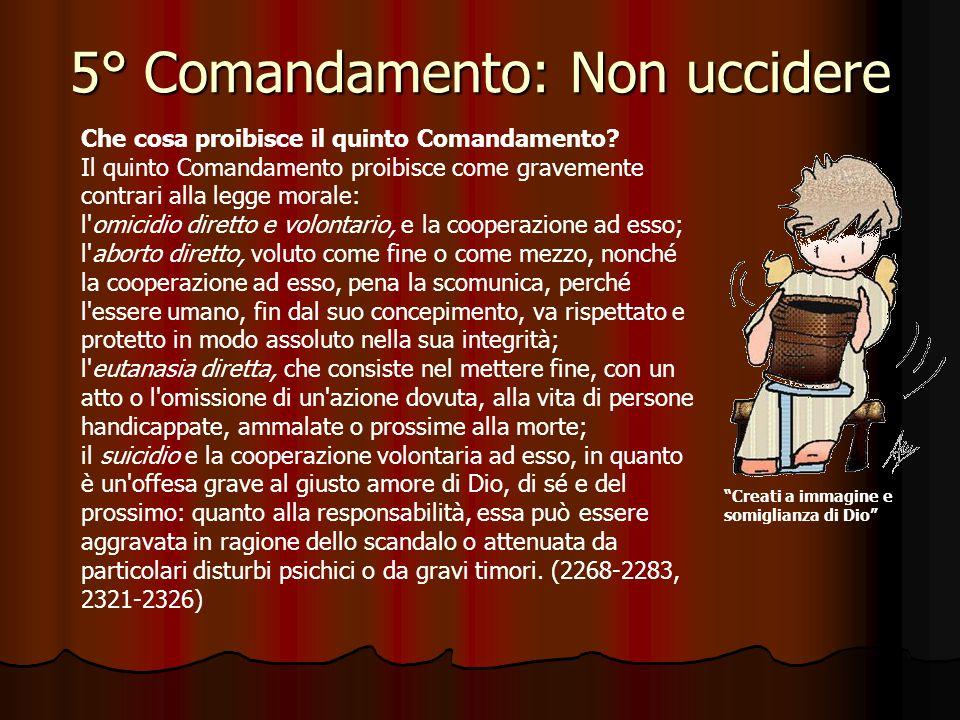 5° Comandamento: Non uccidere Perché la vita umana va rispettata? Perché è sacra. Fin dal suo inizio essa comporta l'azione creatrice di Dio e rimane
