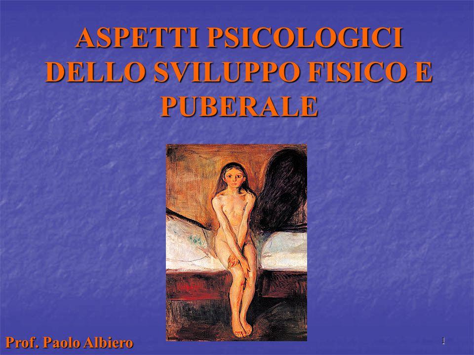 1 ASPETTI PSICOLOGICI DELLO SVILUPPO FISICO E PUBERALE Prof. Paolo Albiero