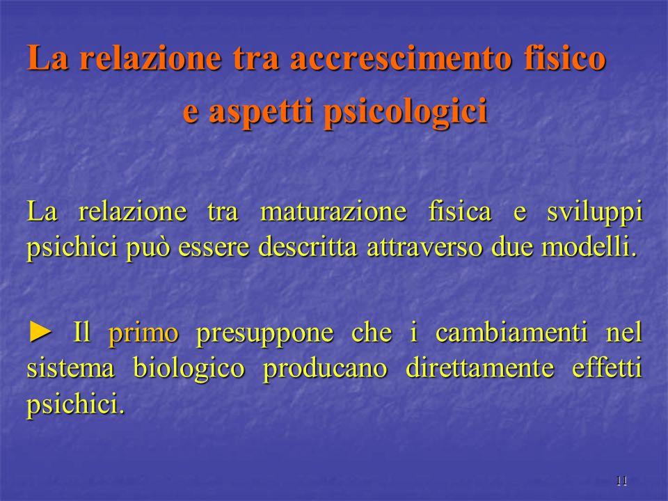 11 La relazione tra accrescimento fisico e aspetti psicologici La relazione tra maturazione fisica e sviluppi psichici può essere descritta attraverso