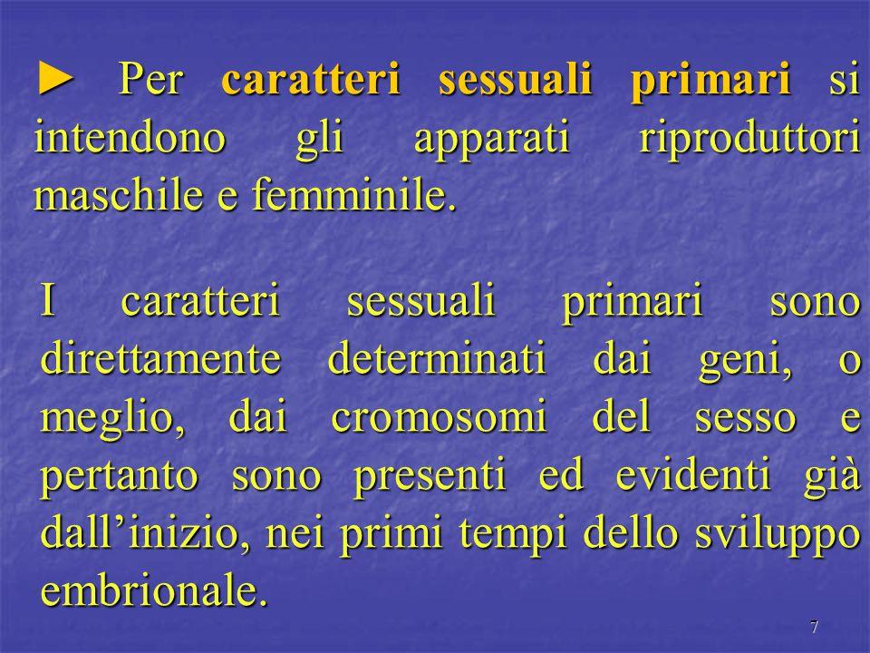 7 ► Per caratteri sessuali primari si intendono gli apparati riproduttori maschile e femminile. I caratteri sessuali primari sono direttamente determi