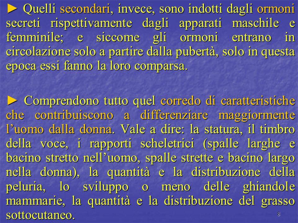 8 ► Quelli secondari, invece, sono indotti dagli ormoni secreti rispettivamente dagli apparati maschile e femminile; e siccome gli ormoni entrano in c