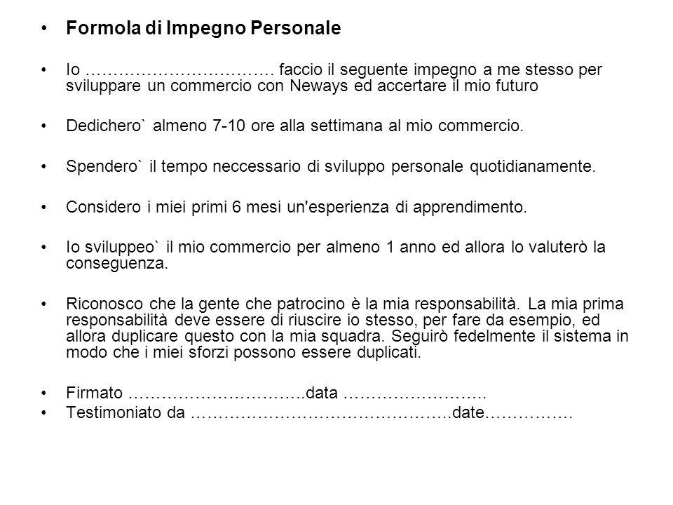 Formola di Impegno Personale Io …………………………….