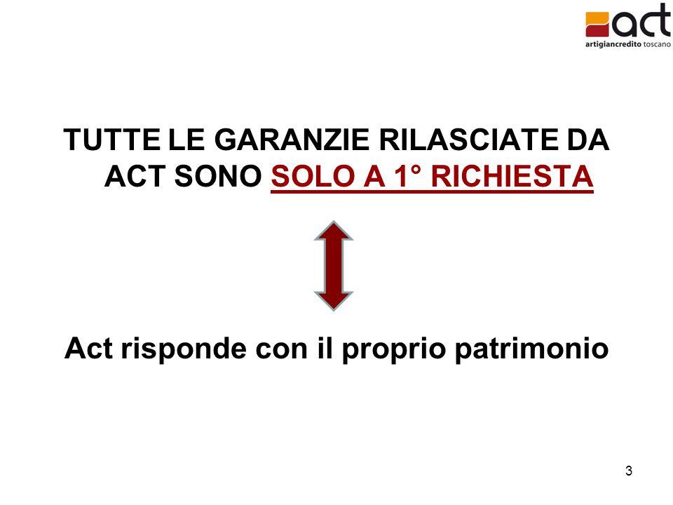 3 TUTTE LE GARANZIE RILASCIATE DA ACT SONO SOLO A 1° RICHIESTA Act risponde con il proprio patrimonio