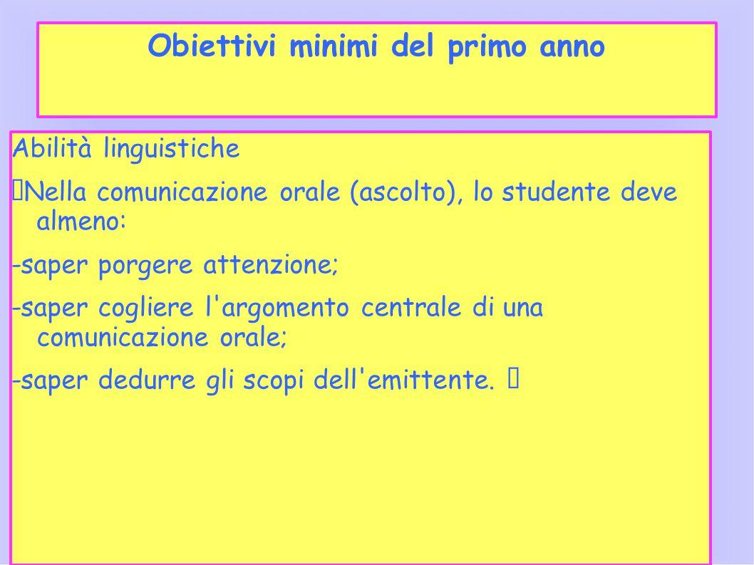 Obiettivi minimi del primo anno Abilità linguistiche Nella comunicazione orale (ascolto), lo studente deve almeno: -saper porgere attenzione; -saper c