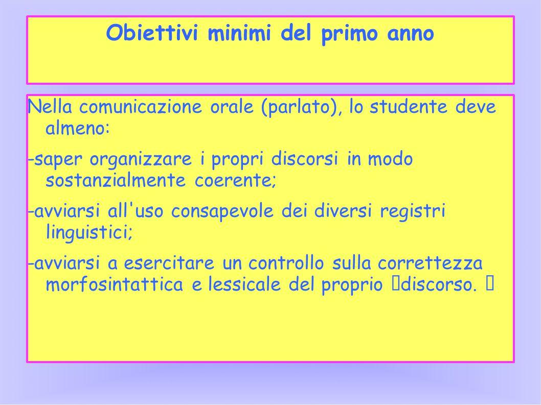 Obiettivi minimi del primo anno Nella comunicazione orale (parlato), lo studente deve almeno: -saper organizzare i propri discorsi in modo sostanzialm