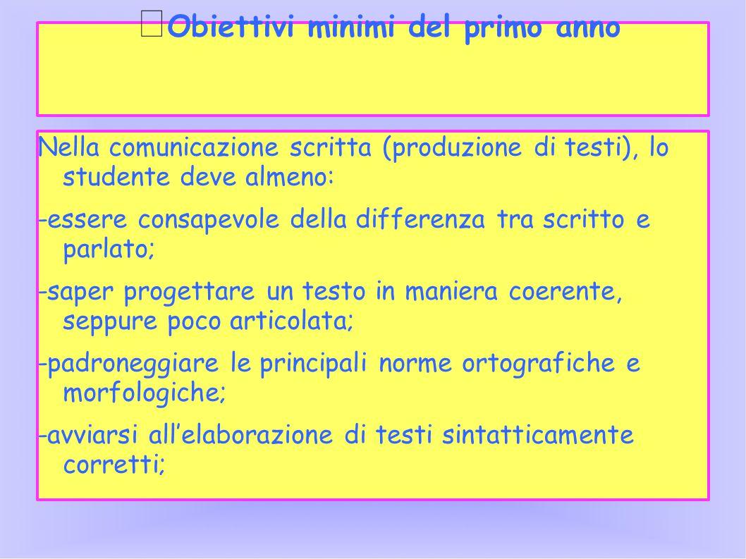 Obiettivi minimi del primo anno Nella comunicazione scritta (produzione di testi), lo studente deve almeno: -essere consapevole della differenza tra s
