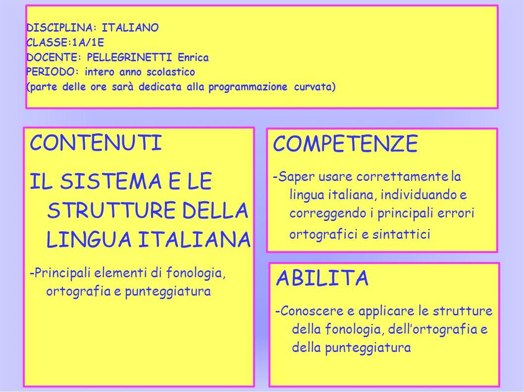 DISCIPLINA: ITALIANO CLASSE:1A/1E DOCENTE: PELLEGRINETTI Enrica PERIODO: intero anno scolastico (parte delle ore sarà dedicata alla programmazione curvata) CONTENUTI IL SISTEMA E LE STRUTTURE DELLA LINGUA ITALIANA -Principali elementi di fonologia, ortografia e punteggiatura COMPETENZE -Saper usare correttamente la lingua italiana, individuando e correggendo i principali errori ortografici e sintattici ABILITA -Conoscere e applicare le strutture della fonologia, dell'ortografia e della punteggiatura