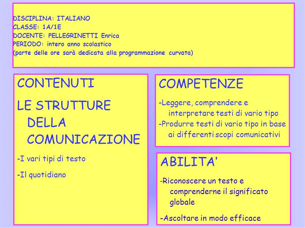 DISCIPLINA CLASSE DOCENTE PERIODO (parte delle ore sarà dedicata alla programmazione curvata) CONTENUTI LE STRUTTURE DELLA COMUNICAZIONE -I vari tipi di testo -Il quotidiano COMPETENZE -Leggere, comprendere e interpretare testi di vario tipo -Produrre testi di vario tipo in base ai differenti scopi comunicativi ABILITA ' - Riconoscere un testo e comprenderne il significato globale -Ascoltare in modo efficace DISCIPLINA: ITALIANO CLASSE: 1A/1E DOCENTE: PELLEGRINETTI Enrica PERIODO: intero anno scolastico (parte delle ore sarà dedicata alla programmazione curvata)