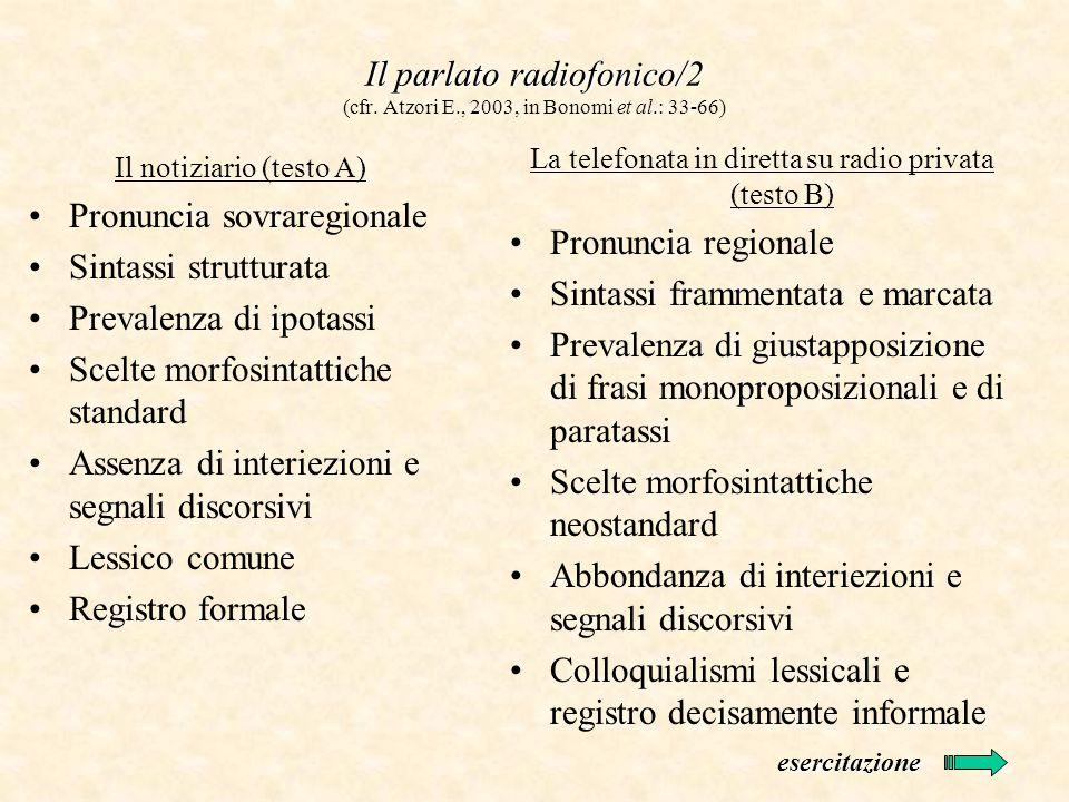 Il parlato radiofonico/2 Il parlato radiofonico/2 (cfr. Atzori E., 2003, in Bonomi et al.: 33-66) Il notiziario (testo A) Pronuncia sovraregionale Sin