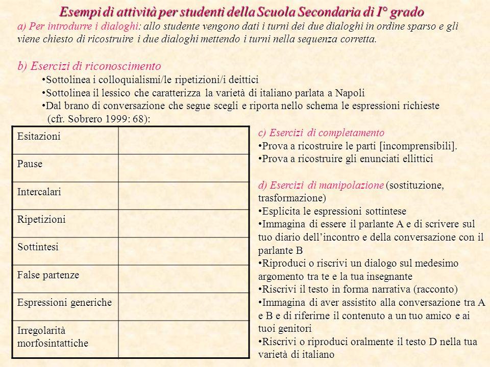 Esempi di attività per studenti della Scuola Secondaria di I° grado : allo studente vengono dati i turni dei due dialoghi in ordine sparso e gli viene