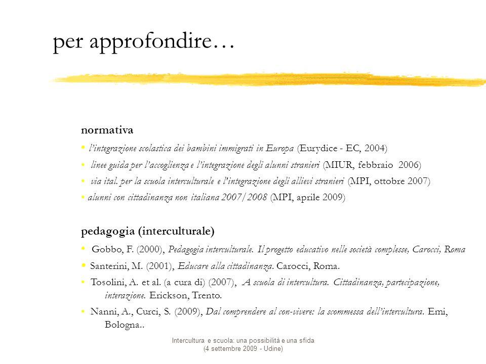 Intercultura e scuola: una possibilità e una sfida (4 settembre 2009 - Udine) per approfondire… normativa l'integrazione scolastica dei bambini immigrati in Europa (Eurydice - EC, 2004) linee guida per l'accoglienza e l'integrazione degli alunni stranieri (MIUR, febbraio 2006) via ital.
