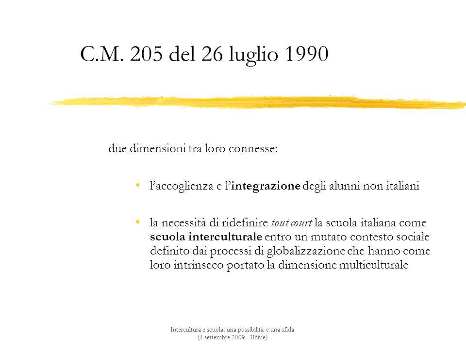 Intercultura e scuola: una possibilità e una sfida (4 settembre 2009 - Udine) C.M.