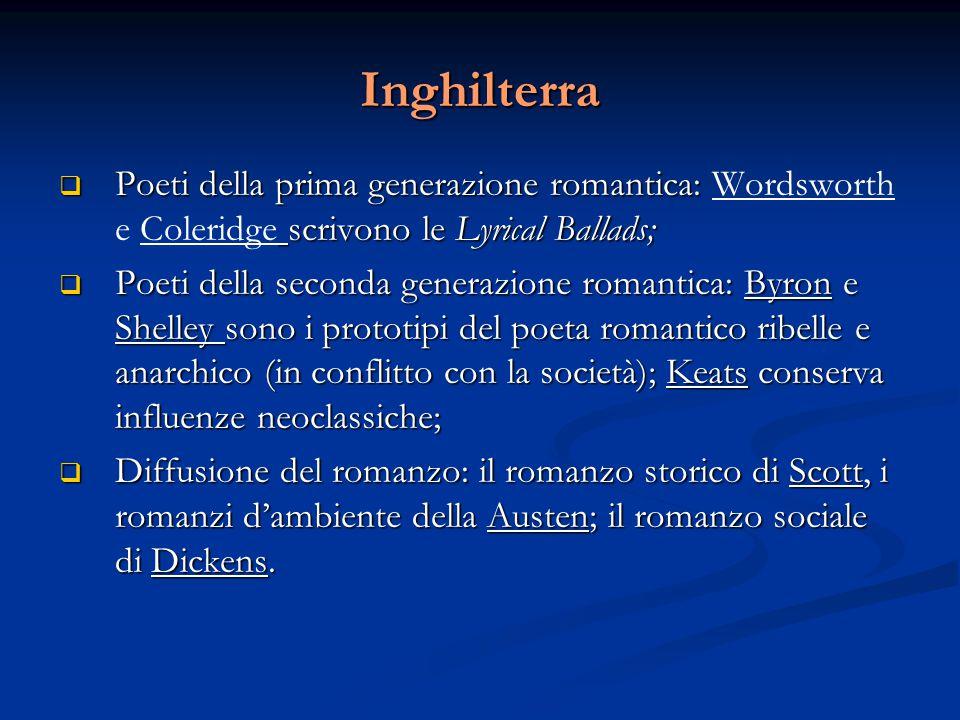 Inghilterra  Poeti della prima generazione romantica: scrivono le Lyrical Ballads;  Poeti della prima generazione romantica: Wordsworth e Coleridge
