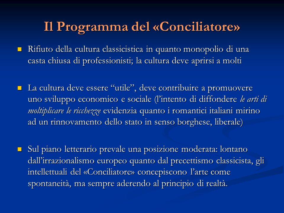 Il Programma del «Conciliatore» Rifiuto della cultura classicistica in quanto monopolio di una casta chiusa di professionisti; la cultura deve aprirsi
