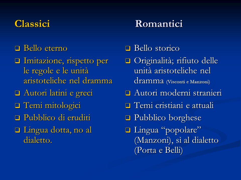 ClassiciRomantici  Bello eterno  Imitazione, rispetto per le regole e le unità aristoteliche nel dramma  Autori latini e greci  Temi mitologici 
