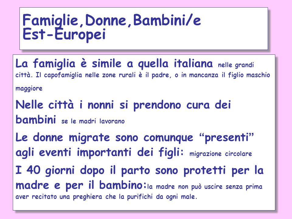 La famiglia è simile a quella italiana nelle grandi città. Il capofamiglia nelle zone rurali è il padre, o in mancanza il figlio maschio maggiore Nell