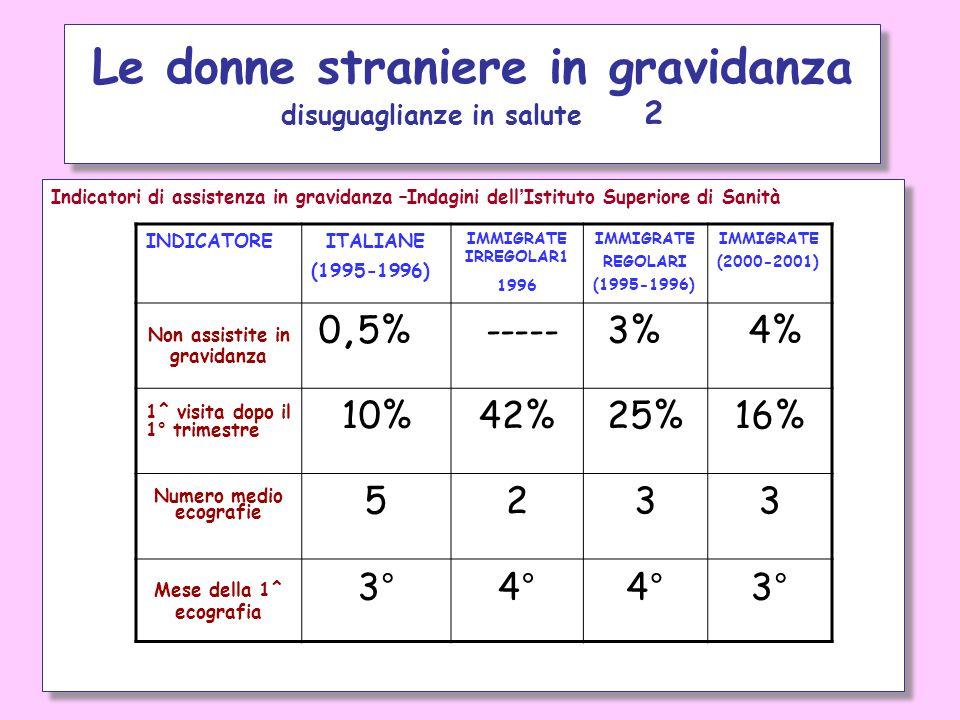 Indicatori di assistenza in gravidanza –Indagini dell'Istituto Superiore di Sanità Le donne straniere in gravidanza disuguaglianze in salute 2 INDICAT