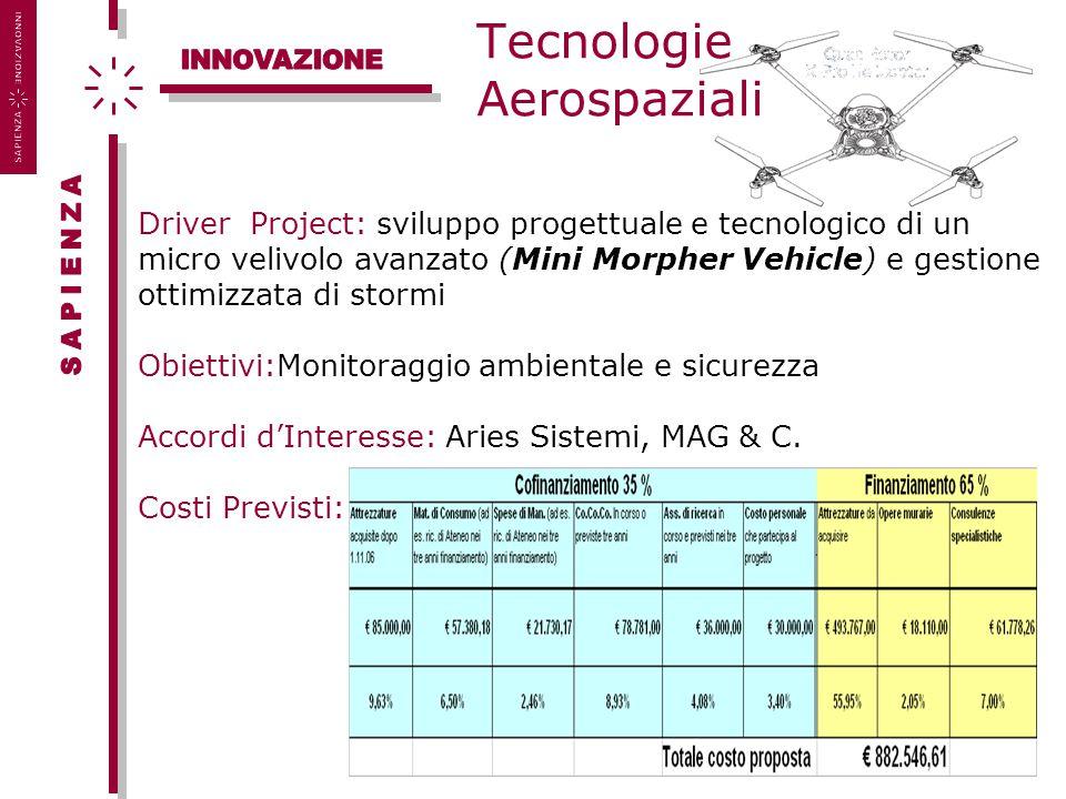 Tecnologie Aerospaziali Driver Project: sviluppo progettuale e tecnologico di un micro velivolo avanzato (Mini Morpher Vehicle) e gestione ottimizzata di stormi Obiettivi:Monitoraggio ambientale e sicurezza Accordi d'Interesse: Aries Sistemi, MAG & C.