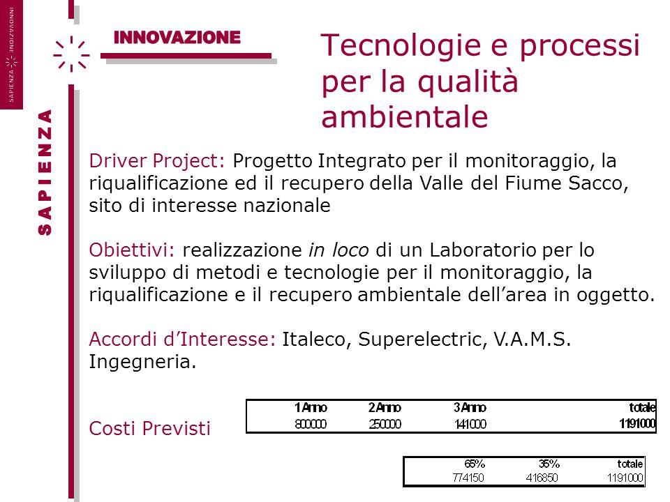 Tecnologie e processi per la qualità ambientale Driver Project: Progetto Integrato per il monitoraggio, la riqualificazione ed il recupero della Valle
