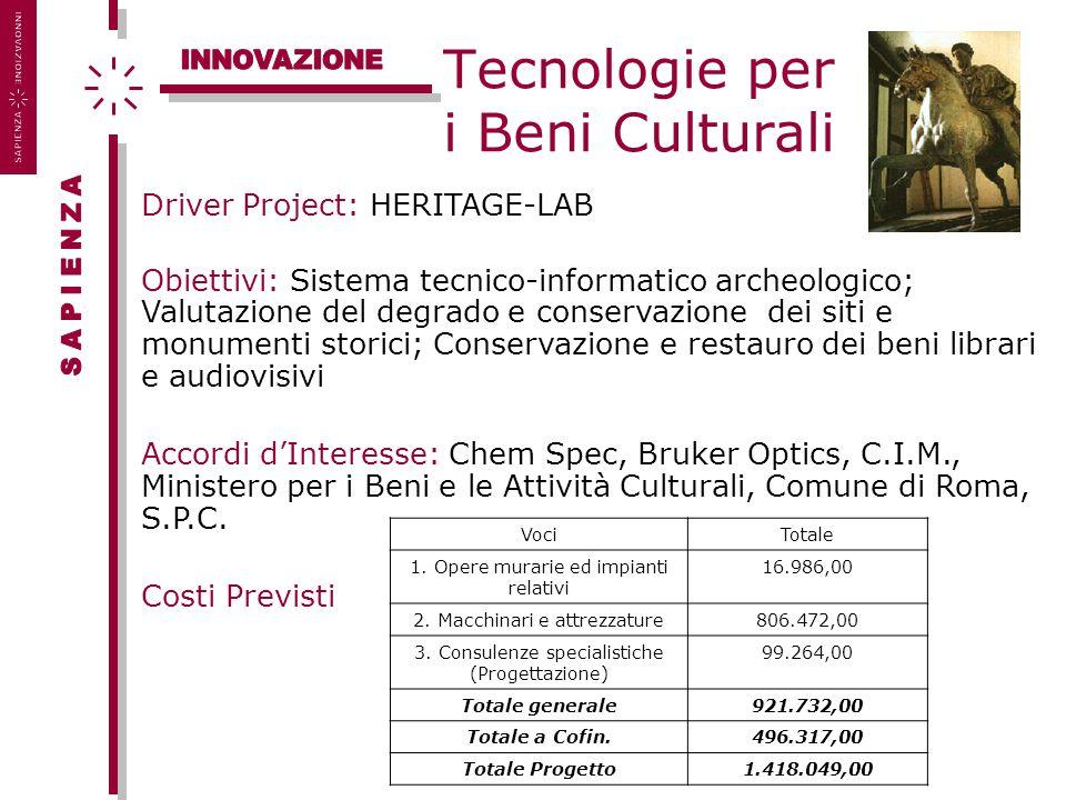 Tecnologie per i Beni Culturali Driver Project: HERITAGE-LAB Obiettivi: Sistema tecnico-informatico archeologico; Valutazione del degrado e conservazi