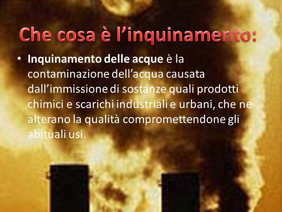 Inquinamento delle acque è la contaminazione dell'acqua causata dall'immissione di sostanze quali prodotti chimici e scarichi industriali e urbani, ch