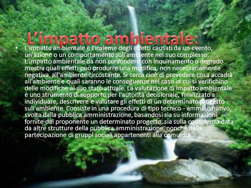 L'impatto ambientale è l'insieme degli effetti causati da un evento, un'azione o un comportamento sull'ambiente nel suo complesso. L'impatto ambiental