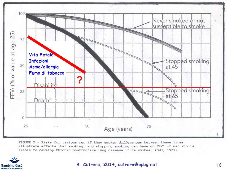 R.Cutrera, 2014, cutrera@opbg.net 16 Vita Fetale Infezioni Asma/allergia Fumo di tabacco .