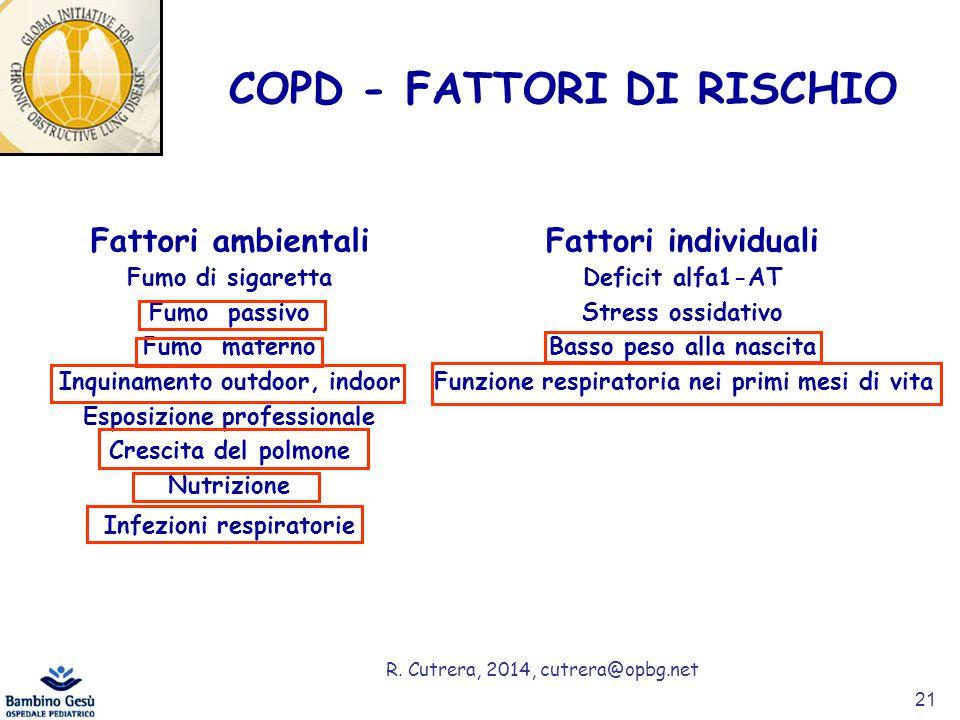 R. Cutrera, 2014, cutrera@opbg.net COPD - FATTORI DI RISCHIO Fattori ambientali Fumo di sigaretta Fumo passivo Fumo materno Inquinamento outdoor, indo