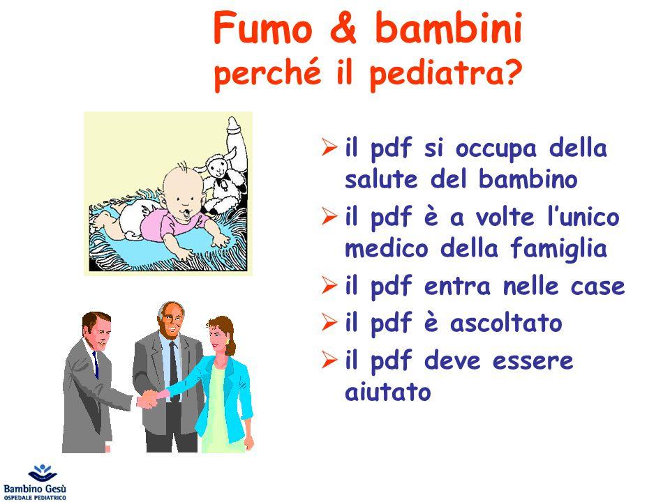 Fumo & bambini perché il pediatra?  il pdf si occupa della salute del bambino  il pdf è a volte l'unico medico della famiglia  il pdf entra nelle c