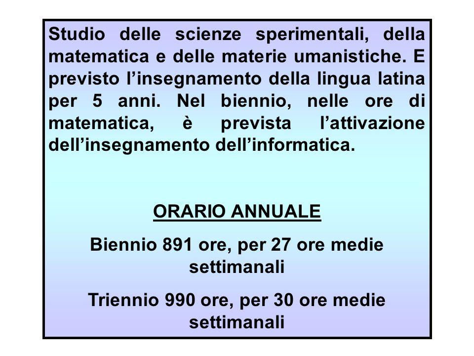 Studio delle scienze sperimentali, della matematica e delle materie umanistiche.