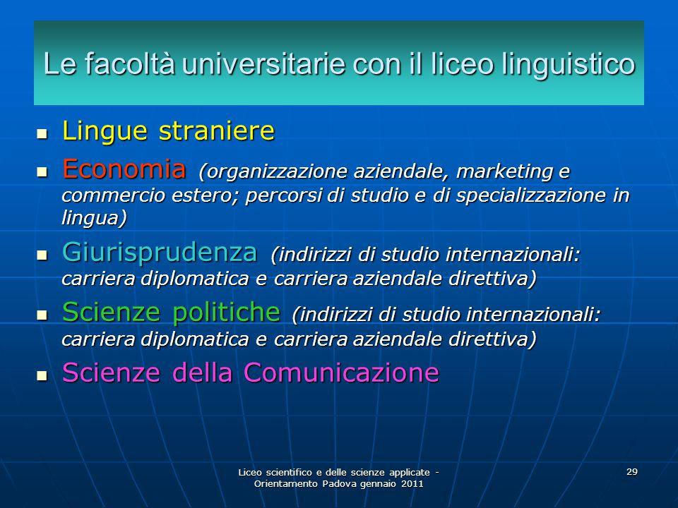 Liceo scientifico e delle scienze applicate - Orientamento Padova gennaio 2011 29 Le facoltà universitarie con il liceo linguistico Lingue straniere L