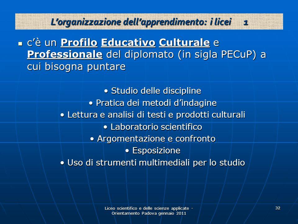 Liceo scientifico e delle scienze applicate - Orientamento Padova gennaio 2011 32 c'è un Profilo Educativo Culturale e Professionale del diplomato (in