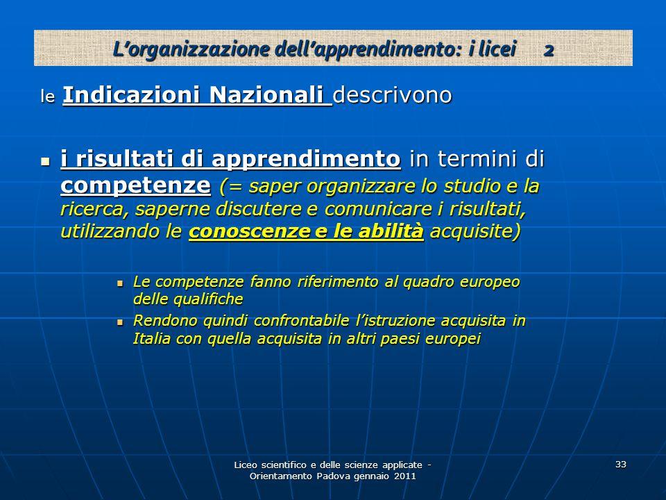 Liceo scientifico e delle scienze applicate - Orientamento Padova gennaio 2011 33 le Indicazioni Nazionali descrivono i risultati di apprendimento in