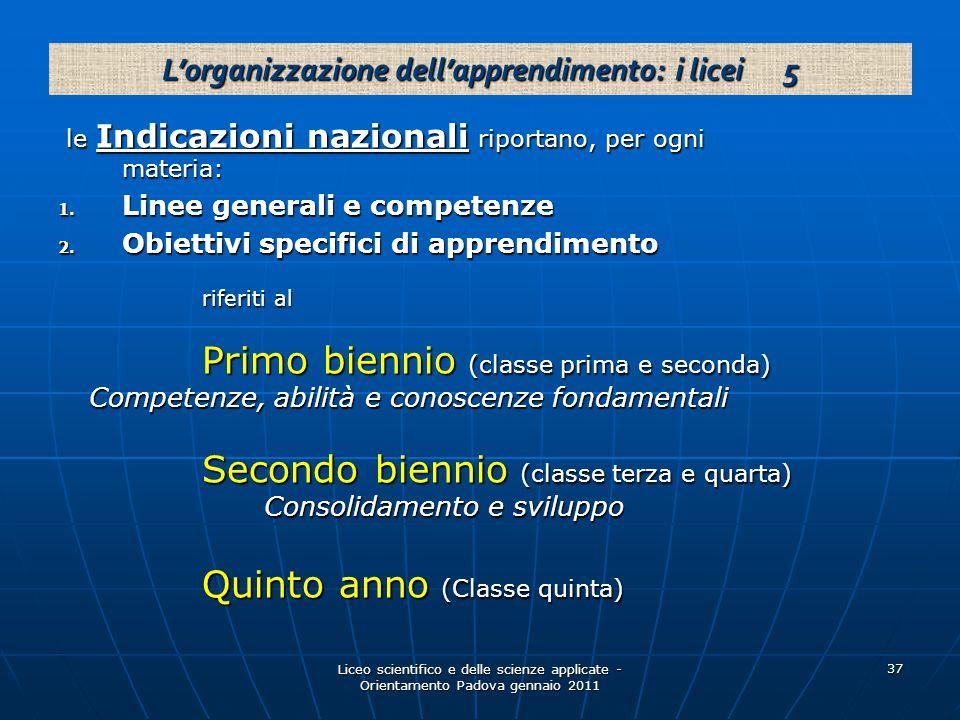 Liceo scientifico e delle scienze applicate - Orientamento Padova gennaio 2011 37 le Indicazioni nazionali riportano, per ogni materia: le Indicazioni nazionali riportano, per ogni materia: 1.