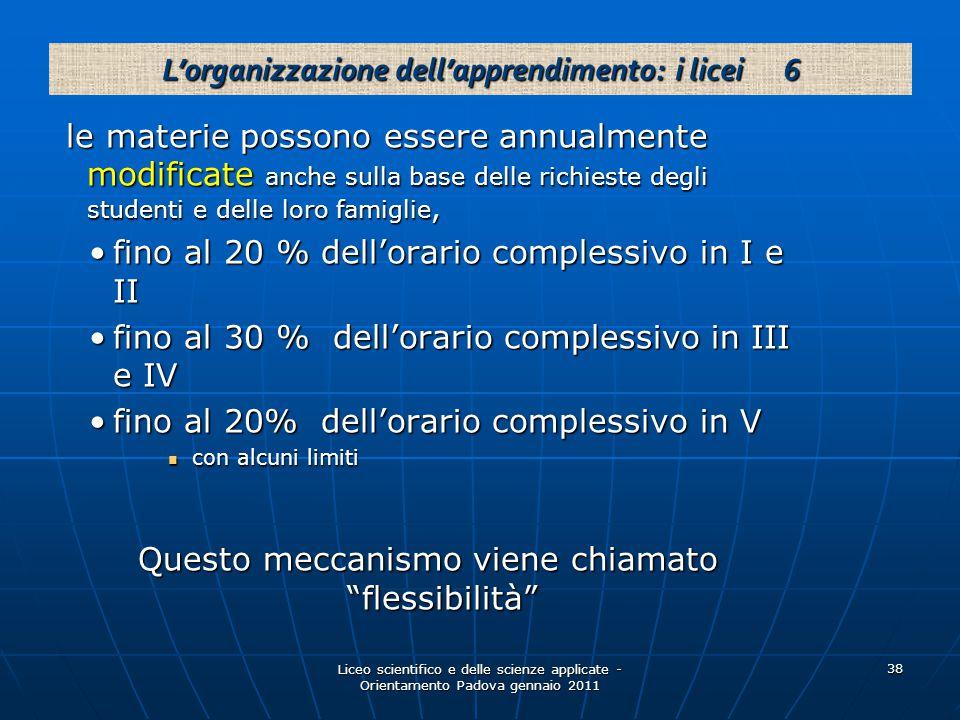 Liceo scientifico e delle scienze applicate - Orientamento Padova gennaio 2011 38 le materie possono essere annualmente modificate anche sulla base delle richieste degli studenti e delle loro famiglie, le materie possono essere annualmente modificate anche sulla base delle richieste degli studenti e delle loro famiglie, fino al 20 % dell'orario complessivo in I e IIfino al 20 % dell'orario complessivo in I e II fino al 30 % dell'orario complessivo in III e IVfino al 30 % dell'orario complessivo in III e IV fino al 20% dell'orario complessivo in Vfino al 20% dell'orario complessivo in V con alcuni limiti con alcuni limiti Questo meccanismo viene chiamato flessibilità L'organizzazione dell'apprendimento: i licei 6