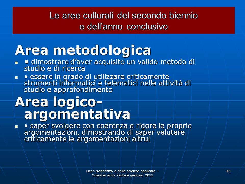 Liceo scientifico e delle scienze applicate - Orientamento Padova gennaio 2011 45 Le aree culturali del secondo biennio e dell'anno conclusivo Area me