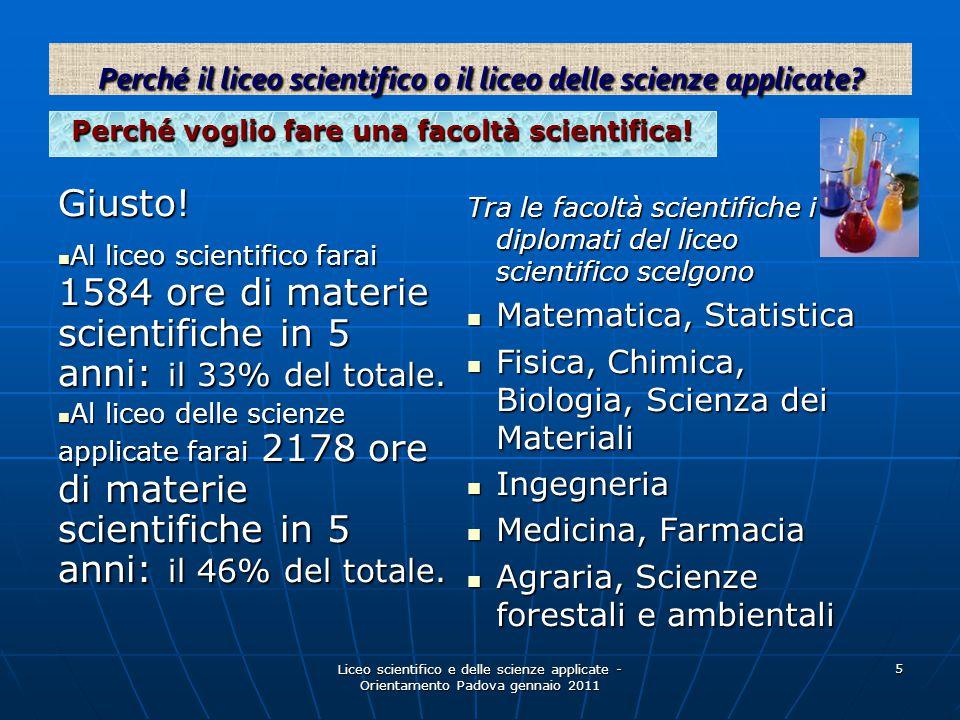 Liceo scientifico e delle scienze applicate - Orientamento Padova gennaio 2011 5 Perché voglio fare una facoltà scientifica! Giusto! Al liceo scientif