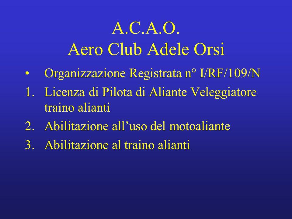 A.C.A.O. Aero Club Adele Orsi Organizzazione Registrata n° I/RF/109/N 1.Licenza di Pilota di Aliante Veleggiatore traino alianti 2.Abilitazione all'us